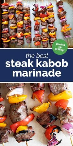 Full of bold flavor, this Steak Kabob Marinade is the best when grilling steak kabobs! Only 5 ingredients in the marinade - this is super easy and a great way to stretch a steak! #recipe #steak #grilling #kabob #marinade Steak Kabob Marinade, Steak Kabobs, Marinated Steak, Best Steak, How To Grill Steak, Yummy Food, Tasty, Beef Recipes, The Best