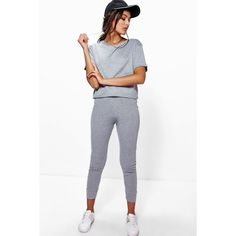 Boohoo Amy Ribbed Crop + Legging Loungewear Set ($26) ❤ liked on Polyvore featuring intimates, sleepwear, pajamas, grey and loungewear sleepwear
