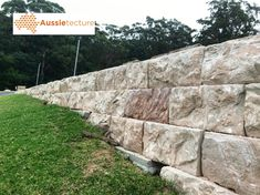 Sandstone Blocks - Retaining Wall Blocks / each Stone Cladding Exterior, Sandstone Cladding, Sandstone Wall, Pool Retaining Wall, Retaining Wall Blocks, Landscaping Retaining Walls, Natural Stone Wall, Natural Stones, Stone Blocks