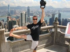 Shawn Mozen playing around on a break from giving Kettlebell Certifications in Hong Kong
