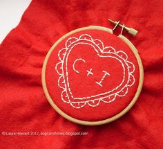 Bugs and Fishes by Lupin: How To: Embroidered Heart Hoop