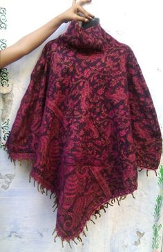 Woolen Poncho Reversible with Fringes High Collar and Hoodie Cape Paisley Print Warm Fringe Boho Cape Boho Woolen Schawl Wrap Poncho CPK002
