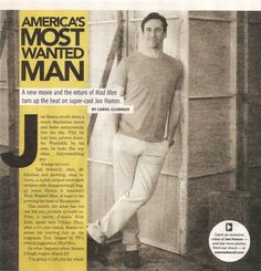 Jon Hamm magazine scans from the magazine USA Weekend (March 29530538 Cute Baby Pigs, Cute Babies, Mad Men Quotes, John Hamm, America's Most Wanted, Don Draper, Gossip Girl, New Movies, Magazine