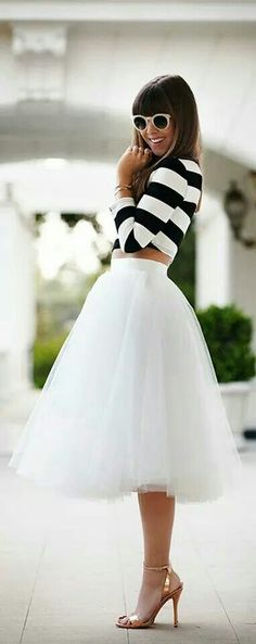 White Midi Skirt Tulle Evening Party Occasion faldas largas New Arrival faldas mujer Women faldas largas skirt skirt skirt skirt outfit skirt for teens midi skirt Mode Chic, Mode Style, Look Fashion, Fashion Beauty, Womens Fashion, Latest Fashion, White Fashion, Street Fashion, Retro Fashion