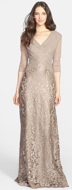 Tadashi Shoji Sequin Lace Gown V