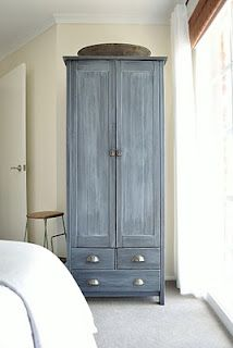 The Painted Hive: Chalky Washed Armoire-sanded, french gray acrylic paint diluted with water, cloth wiped on, damp rag wiped off in the direction of the grain. Pine Furniture, Furniture Projects, Furniture Makeover, Shabby, Expedit Regal, Armoire En Pin, Armoire Redo, Painted Armoire, Painted Closet