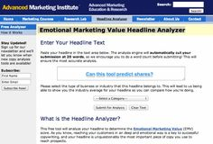 Emotional Marketing Value Headline Analyzer. This free tool will analyze your headline to determine the Emotional Marketing Value (EMV) score. As you know, reaching your customers in an deep and emotional way is a key to successful copy writing, and your headline is unquestionably the most important piece of copy you use to reach prospects.