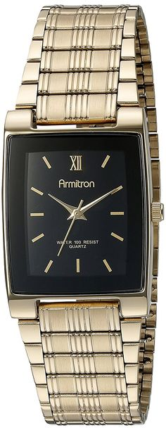 Armitron Men's 201576 Gold-Tone Black Dial Dress Watch *** Check out this great watch.