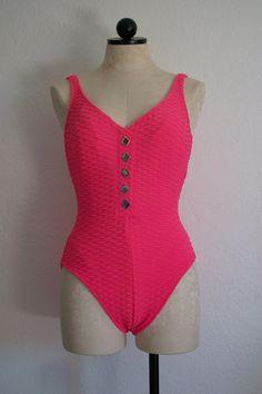 SOLD!!! La Blanca Hot Pink Cross Crinkle Vintage 80s One Piece Swimsuit, SOLD!!!
