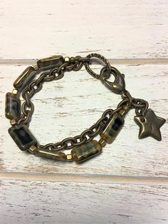 Czech Glass Bracelet Beaded Bracelet Beige & Navy Bracelet