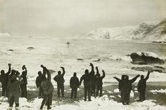 Sir Ernest Shackleton arrives at elephant island to take off marooned men.