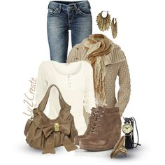 A fashion look from January 2013 featuring tee-shirt, brown cardi and Silver Jeans Co. Browse and shop related looks. Fall Winter Outfits, Autumn Winter Fashion, Spring Fashion, Winter Style, What To Wear Today, How To Wear, Womens Fashion, Fashion Trends, Fashion Ideas