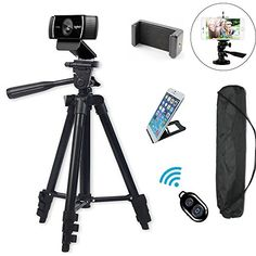 """Professional Camera Tripod Mount Holder Stand for Logitech Webcam C930 C920 C615,iPhone,Cellphone,Cameras with Cell phone Holder Clip and Remote Shutter -42""""/Black #Professional #Camera #Tripod #Mount #Holder #Stand #Logitech #Webcam #C,iPhone,Cellphone,Cameras #with #Cell #phone #Clip #Remote #Shutter #""""/Black"""