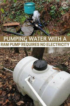 Pumping Water with a Ram Pump Requires No Electricity - One of the best ways to deal with that is having a water pump and a well. Suddenly you can pull water out of the ground! This article is about a ram pump and what we love about those is the fact that Survival Life Hacks, Survival Prepping, Survival Skills, Survival Shelter, Survival Gear, Emergency Preparedness, Emergency Supplies, Off Grid Survival, Zombies Survival