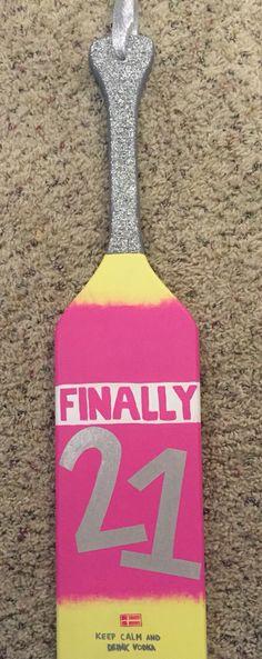 21st birthday paddle Svedka bottle
