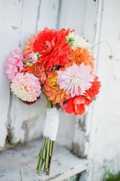 Love these colors for wedding party flowers