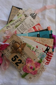 This tag journal was a project with Emily Falconbridge called 52Q...one tag each week for a year.  It is a chunky, eclectic time capsule of the year, and I would like to make another one.  This was a FUN project and Emily has all the details on her blog HERE.