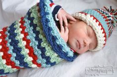 Free crochet pattern  My Merry Messy Life: Baby Boy Crochet Layette - Cocoon and Hat