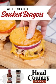 Smoked Burger with BBQ Aioli sauce is a great way to switch up your traditional hamburger recipe. Try this non traditional hamburger then next time you are craving a burger! Burger Buns, Good Burger, Smoked Burgers, Aioli Sauce, Burger Toppings, Smoked Meat Recipes, Summer Grilling Recipes, Food Print, A Food