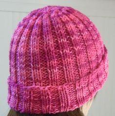 Hat knitting pattern; Rib knit hat