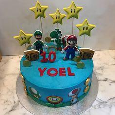 Tarta buttercream Mario Bros. Super Mario Bros, Birthday Cake, Cupcakes, Desserts, Food, Fondant Cakes, Lolly Cake, Candy Stations, One Year Birthday