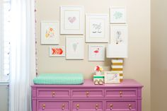Project Nursery - Purple Dresser and Gallery Wall