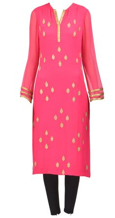 AMRITA THAKUR's Fuchsia pink pure chiffon straight kurta with zari pitta embroidered bootis all over. #heartstrings Check more on: http://heartstringsandmore.wordpress.com/2013/10/13/amrita-thakur-indian-wear-collection/