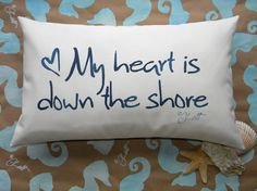 My Heart Is Down the Shore indoor outdoor pillow by crabbychris, $38.00