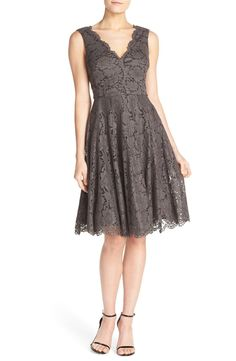 Obsessing over this gorgeous lace fit & flare dress in a dark pewter color.