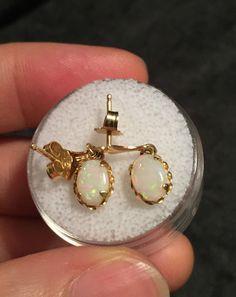 Beautiful 14k Gold & Opal Earrings- Vintage Estate Find- 5.15ct.
