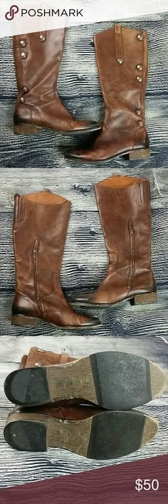 2e645e9f58f08 Arturo Chiang size brown Enchant tall round toe Arturo Chiang size brown  Enchant tall round toe boots Leather knee high heeled boots Whiskey brown  Heel ...