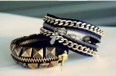 Bracelet de rockeuse avec une fermeture éclair