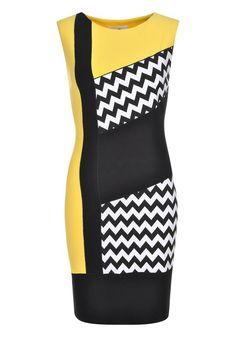 JOSEPH RIBKOFF COLOUR BLOCK ZIG ZAG PRINT DRESS, YELLOW MULTI - www.mcelhinneys.com Lovely Dresses, Dresses For Work, Short Dresses, Colorblock Dress, Dress Outfits, Fashion Outfits, Womens Fashion, Classy Outfits, Yellow Dress