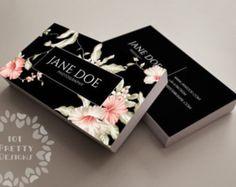 Carte de visite floral design, modèle de carte d'affaire personnalisée, imprimer carte de visite design, premade graphique élégant porte-cartes, noir