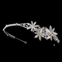 Clear Triple Flower Accented Crystal Headband 910