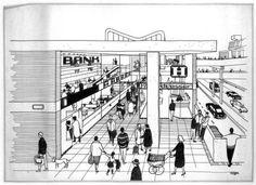 Cumbernauld Town Centre, rys. Michael Evans z kolekcji Royal Incorporation of Architects in Scotland.