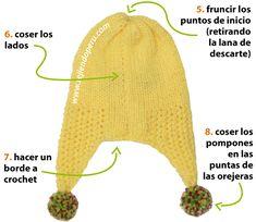 Gorro patito tipo chullo - Tejiendo Perú Baby Hats Knitting, Crochet Baby Hats, Knitting For Kids, Baby Knitting Patterns, Knitted Hats, Knitting Increase, Rib Stitch Knitting, Diy Crafts Knitting, Couture