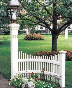 Driveway Entrance Idea - a curved picket fence, made of maintenence - free PVC - Oyster Bay Accent from Walpole Woodworkers