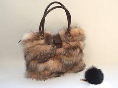 Genuine crystal fox fur bag real fox handbag laptop bag by BeFur
