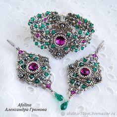Bead Embroidered Bracelet, Beaded Brooch, Beaded Embroidery, Women's Earrings, Beaded Jewelry, Beaded Bracelets, Jewellery, Beadwork Designs, Beads And Wire