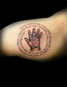 Not the same quote but I like the handprint idea with a quote around it.