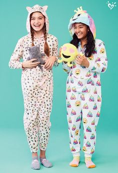 We dare her not to LOL in our super fun one-piece pjs complete with cuddly extras.