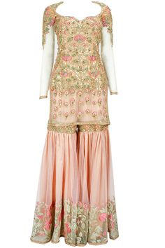 Powder pink and gold thread work sharara set available only at Kehkashan Tariq's Pop-Up Shop.