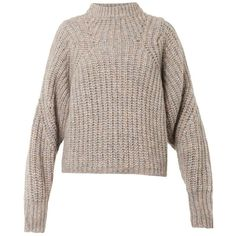 ISABEL MARANT Newt chunky-knit sweater (7.405.070 VND) ❤ liked on Polyvore featuring tops, sweaters, clothing - ls tops, jumpers, knitwear, beige, brown sweater, chunky knit jumper, chunky knit sweater and beige sweater