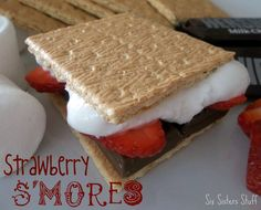 Strawberry S'mores - (graham cracker, marshmallows, choc bar, strawberry)