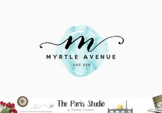 Monogram Script Watercolor Logo Design for artisan boutique branding, e-commerce website logo, wordpress blog logo, boutique logo, photography branding, wedding logo, website branding design.