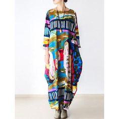 1f40de9e78b Plus Size Printed Linen 3 4 Sleeve Abstract Dress