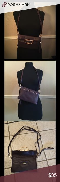 Sondra Roberts bag Beautiful Sondra Roberts bag , genuine leather with twist clasp design can be worn as clutch or cross body bag gold hardware practically new condition with gray lining sondra roberts Bags Shoulder Bags