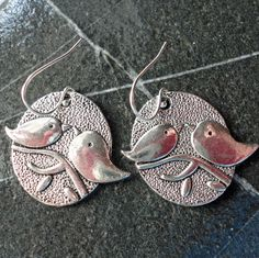 Bird Earrings Love Birds Sterling Ear Wire by PraytorProject, $12.00
