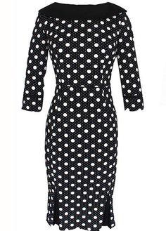 Black and White Polka Dot Print Retro 3/4 Sleeve Wiggle Pencil Dress
